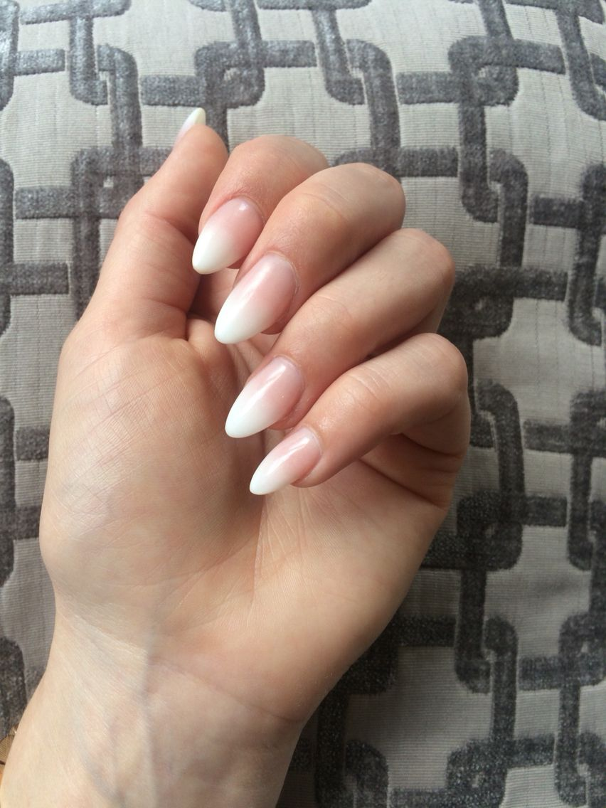 Manchester Pink Ombre Nails White Acrylic Nails Almond Nails Pink