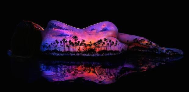 bodyscapes spectacular black light body art photography by john