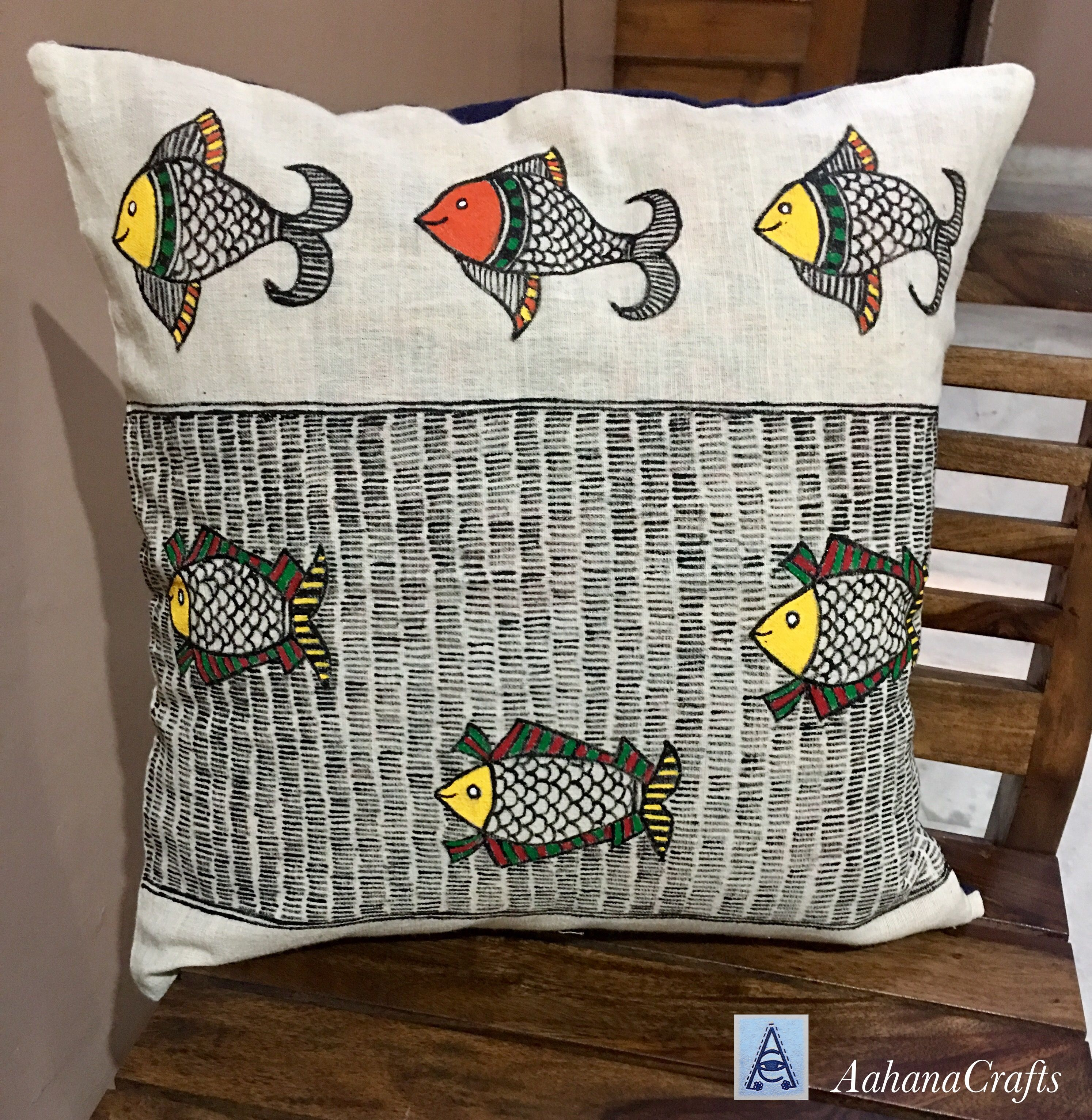 Madhubani Painting On Khadi Cushion Cover By Aahanacrafts Visit Us