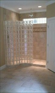 Love The Glass Block Instead Of Shower Curtain Or Doors Glass Block Shower Bathroom Shower Design Bathroom Shower Bases