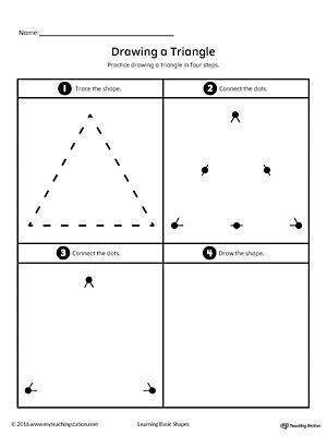 drawing a triangle shape geometric shapes geometrische formen arbeitsbl tter vorschule. Black Bedroom Furniture Sets. Home Design Ideas