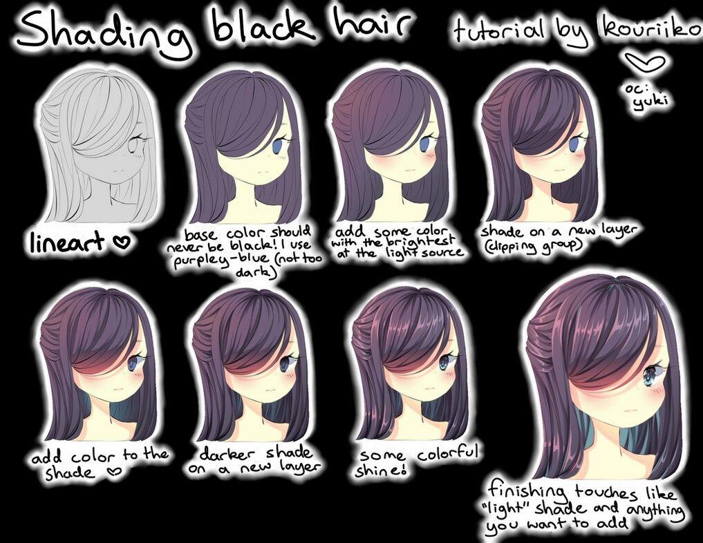 Pin By Michelladk On Tutorials In 2020 Anime Black Hair Cartoon Hair Drawing Hair Tutorial
