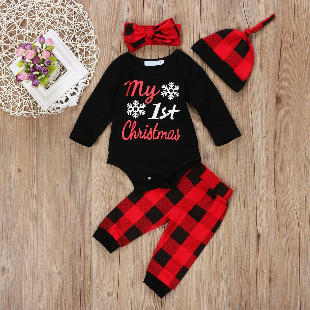 9a21f8a1c798 Newborn Baby Boys Girls My First Christmas Bodysuit and Plaid Pants Leggings  Headband Hat 4pcs Christmas Outfits Set Black 1 80 69 Months -- Read more  at ...