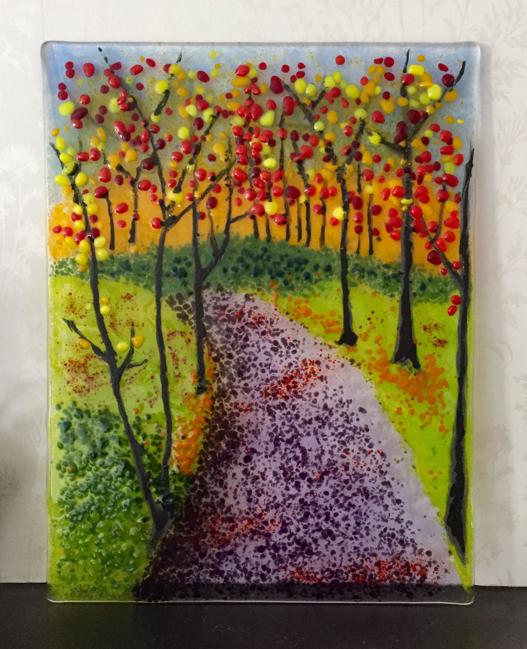 Fused Glass Landscape In Frit Fused Glass Art Fused Glass Glass Painting