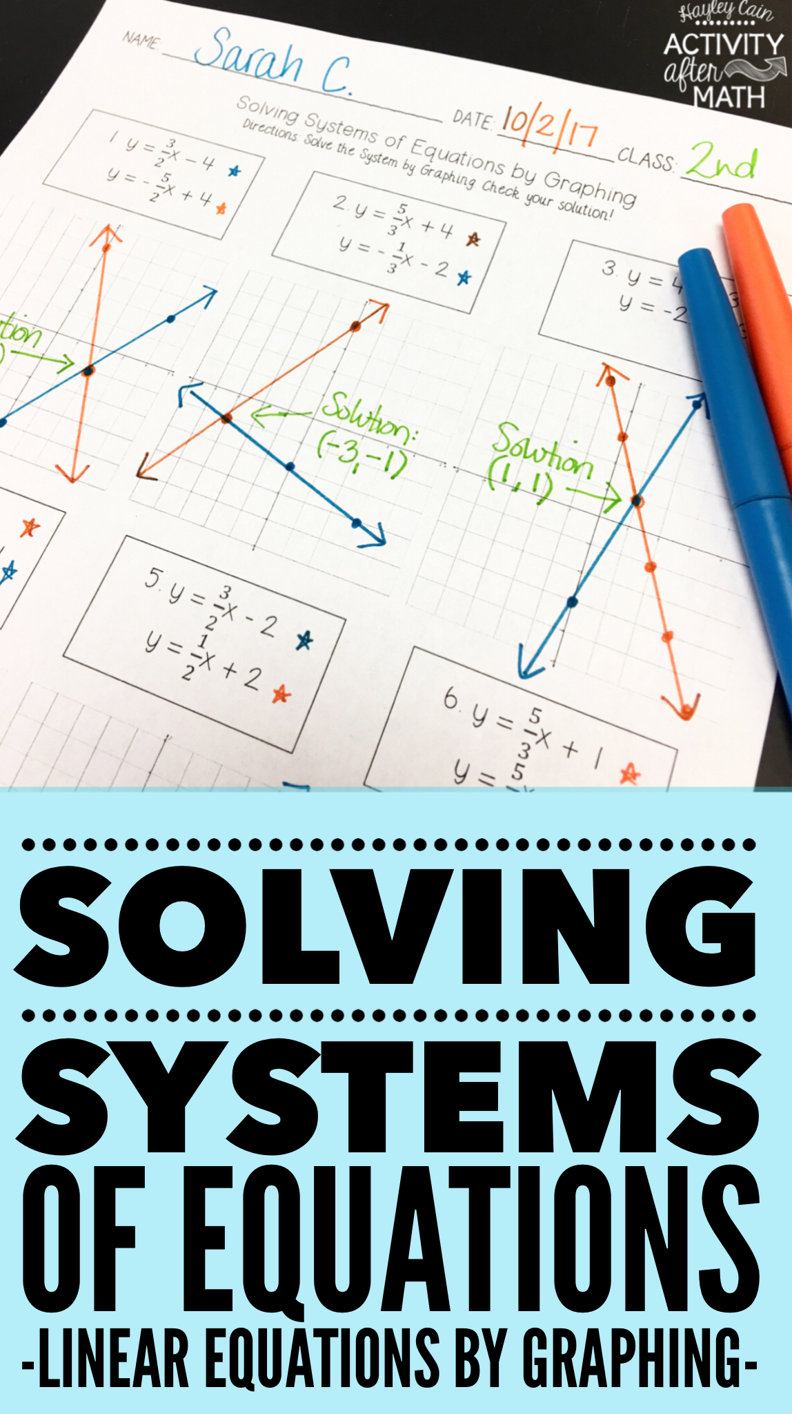 Solving Systems of Equations by Graphing Practice Worksheet ...