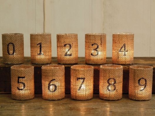 Burlap Numbered Votives.