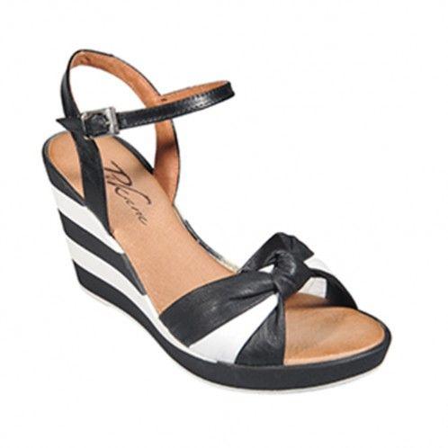 Zapato cuña Alice blanco y negro