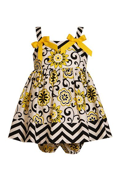 Bonnie Jean® Floral and Chevron Print Dress with Bloomers