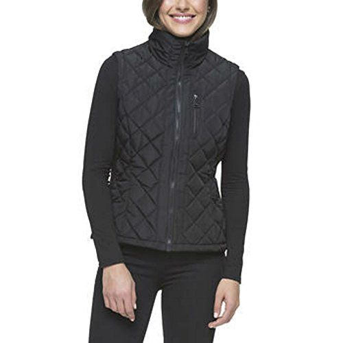 Andrew Marc Ladies' Quilted Vest, Cement (Small, Black) ** Read more reviews of the product by visiting the link on the image.