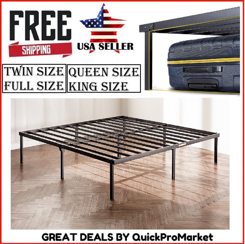 14 Inch Tall Metal Platform Bed Frame Steel Slat Twin Full Queen