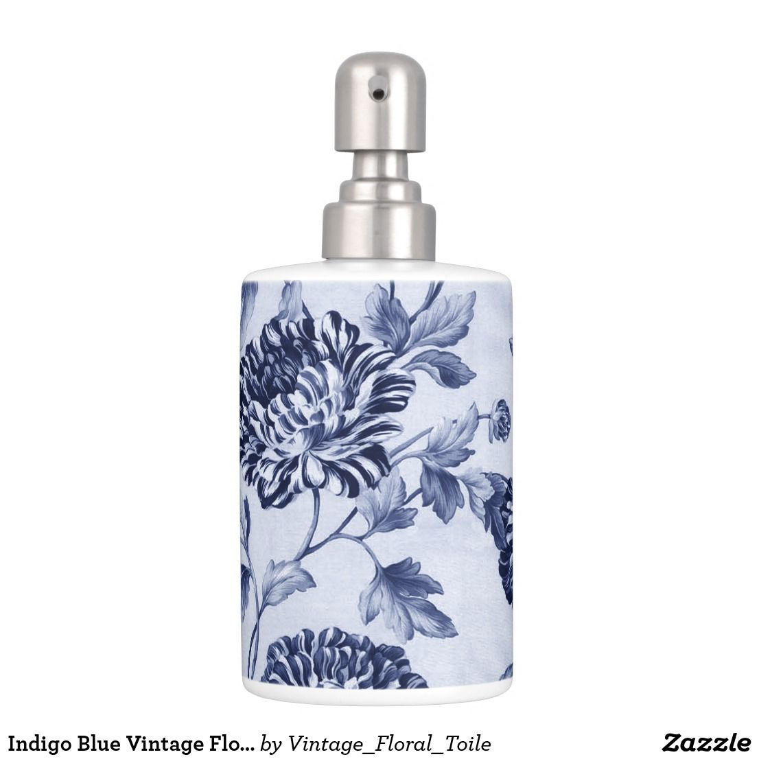 Indigo Blue Vintage Floral Toile No.2 Soap Dispenser & Toothbrush ...