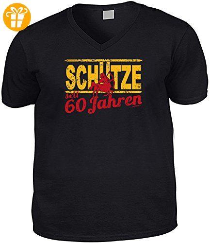 Geburtstags-Sternzeichen-Shirt/ V-Neck-Shirt/V-Ausschnitt/Spaß-Shirt: Schütze seit 60 Jahren (*Partner-Link)