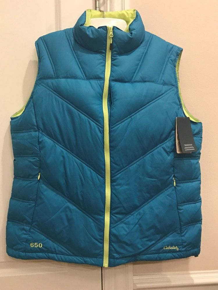 21c820d0038 Cabela's Womens Teal Premier Northern Goose Down 650 Puffer Vest Size Large  NWT #Cabelas