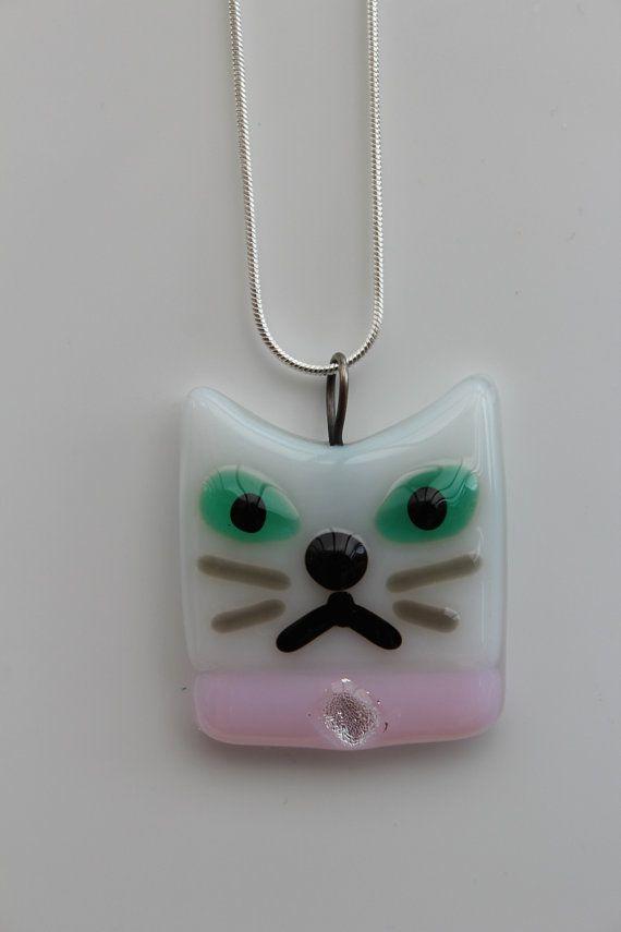 Cute Grumpy White Kitty Cat with Pink by ClowderandTweetballs