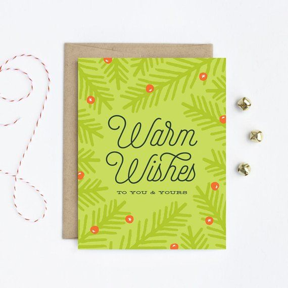 Holiday Card Christmas Card Warm Wishes In Fern In 2018