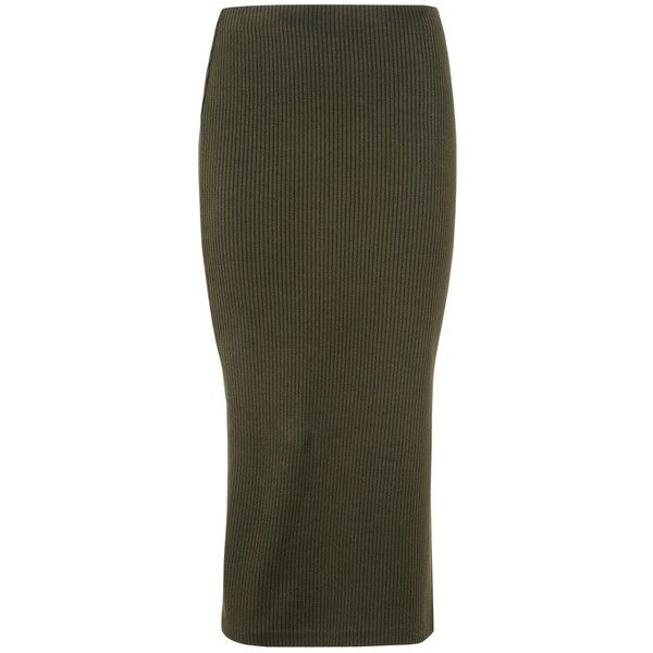 fae90a6672 Whistles Rib Jersey Midi Skirt, Khaki ($84) ❤ liked on Polyvore featuring  skirts, jersey skirt, ribbed skirt, bodycon skirt, calf length skirts and  midi ...