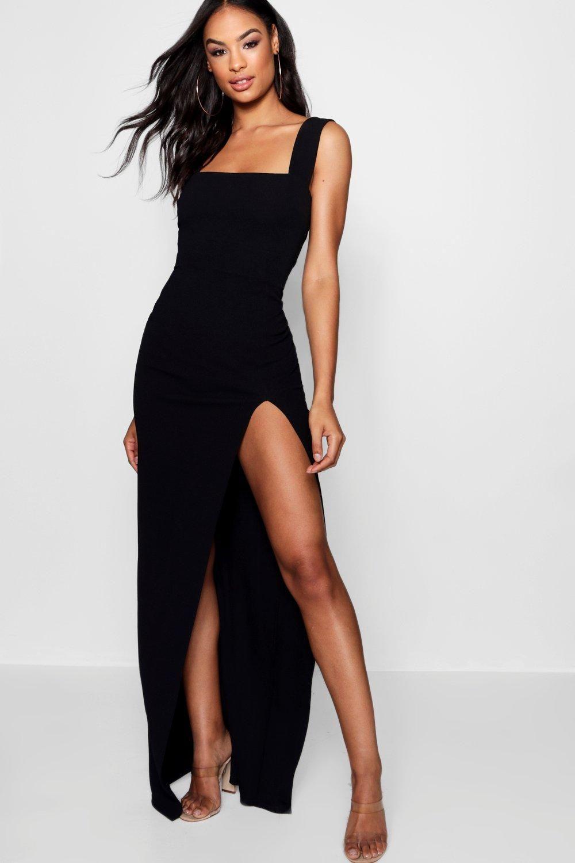 Tall Square Neck Side Split Maxi Dress Boohoo Side Split Maxi Dress Prom Dresses With Pockets Split Maxi Dress