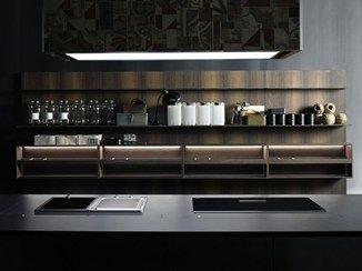 Painel traseiro para cozinha equipado de madeira UPPER UNITS   Painel traseiro para cozinha de madeira - Boffi
