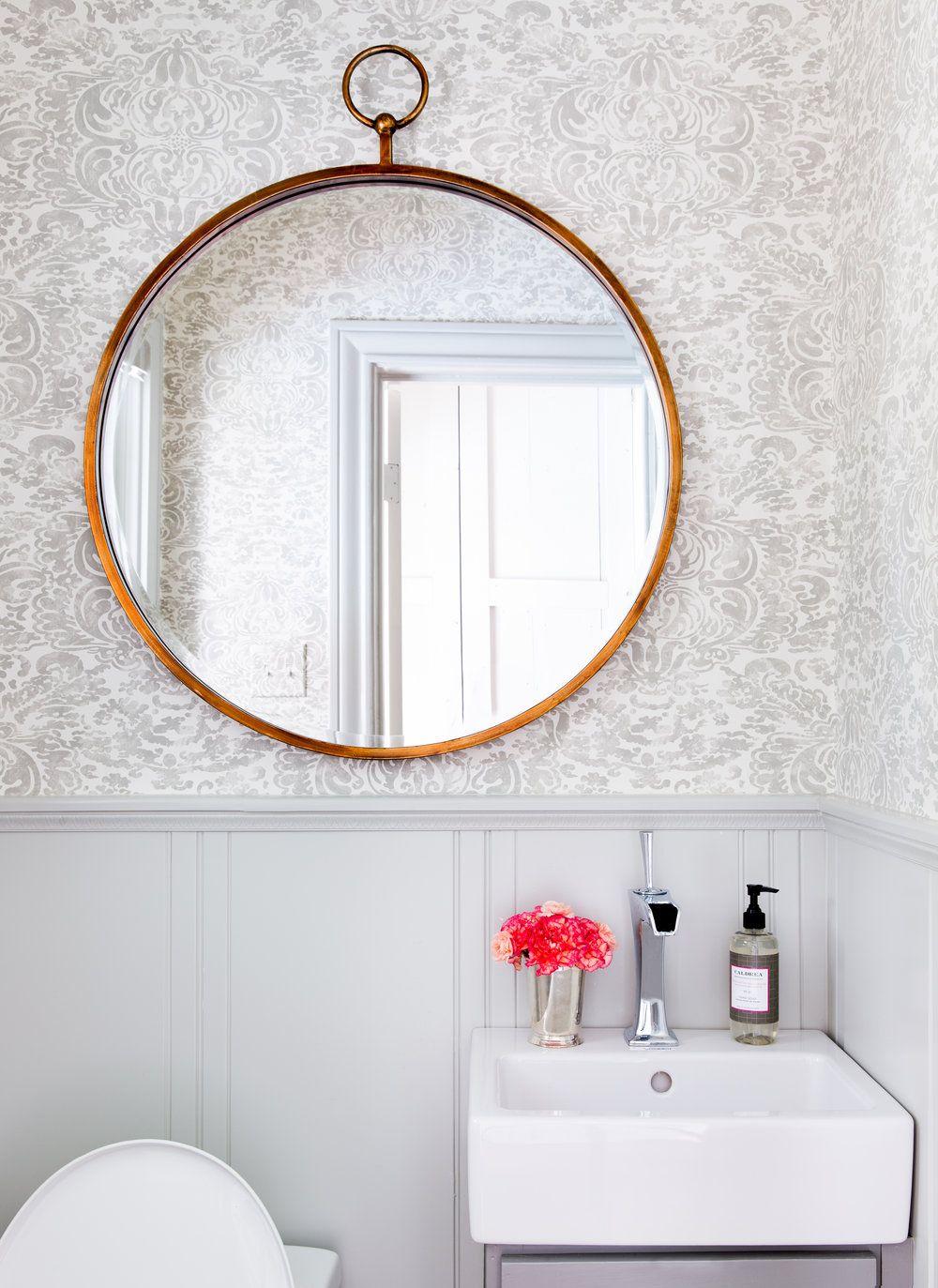 Statement Circular Mirror In Powder Room Jennifer Barron