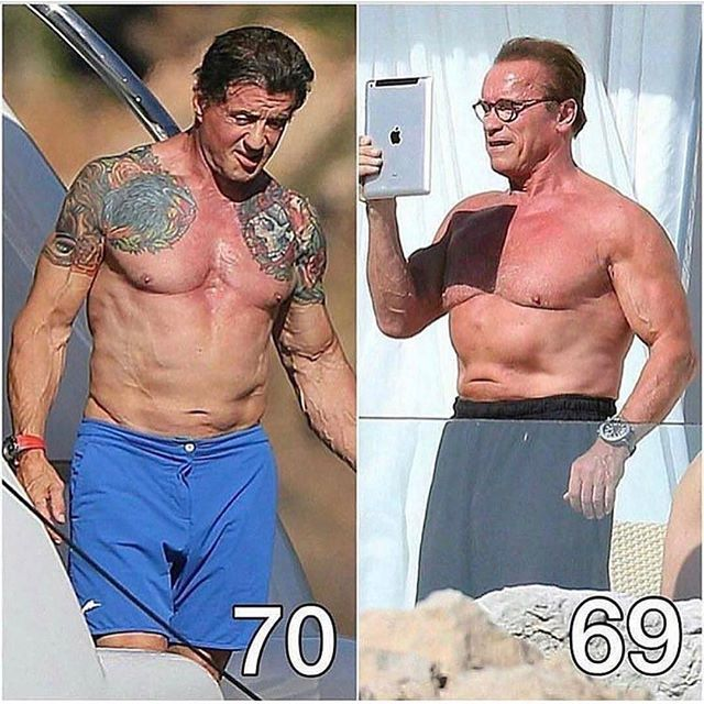 Arnold And Sylvester Stallone Fighting Motivation Bodybuilding Fitness Pacificbeachlocals
