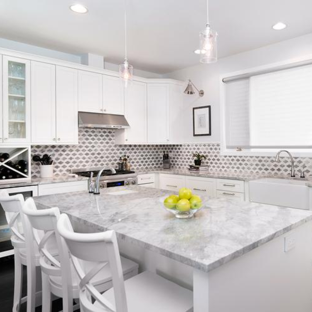 Download Wallpaper White Kitchen Stone Countertops