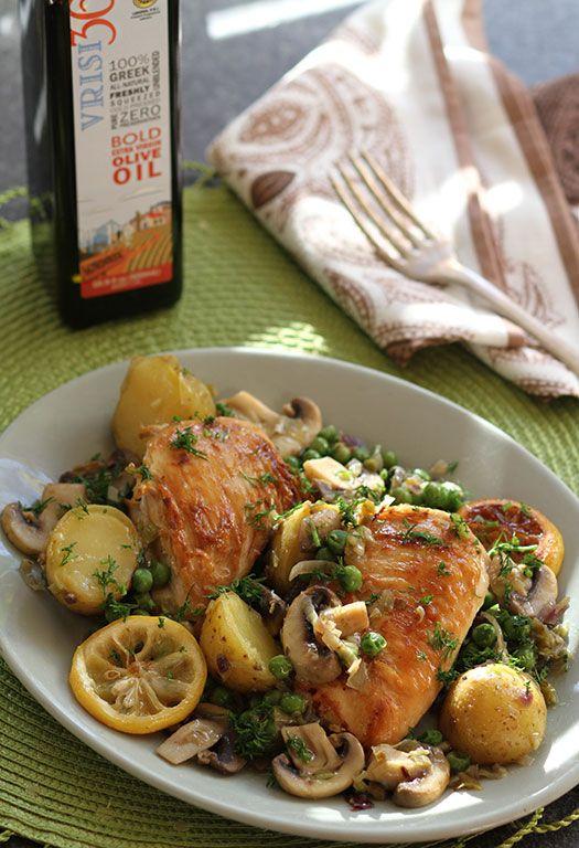 One Pot Greek Lemon Chicken W Potatoes Mushrooms Peas Greek