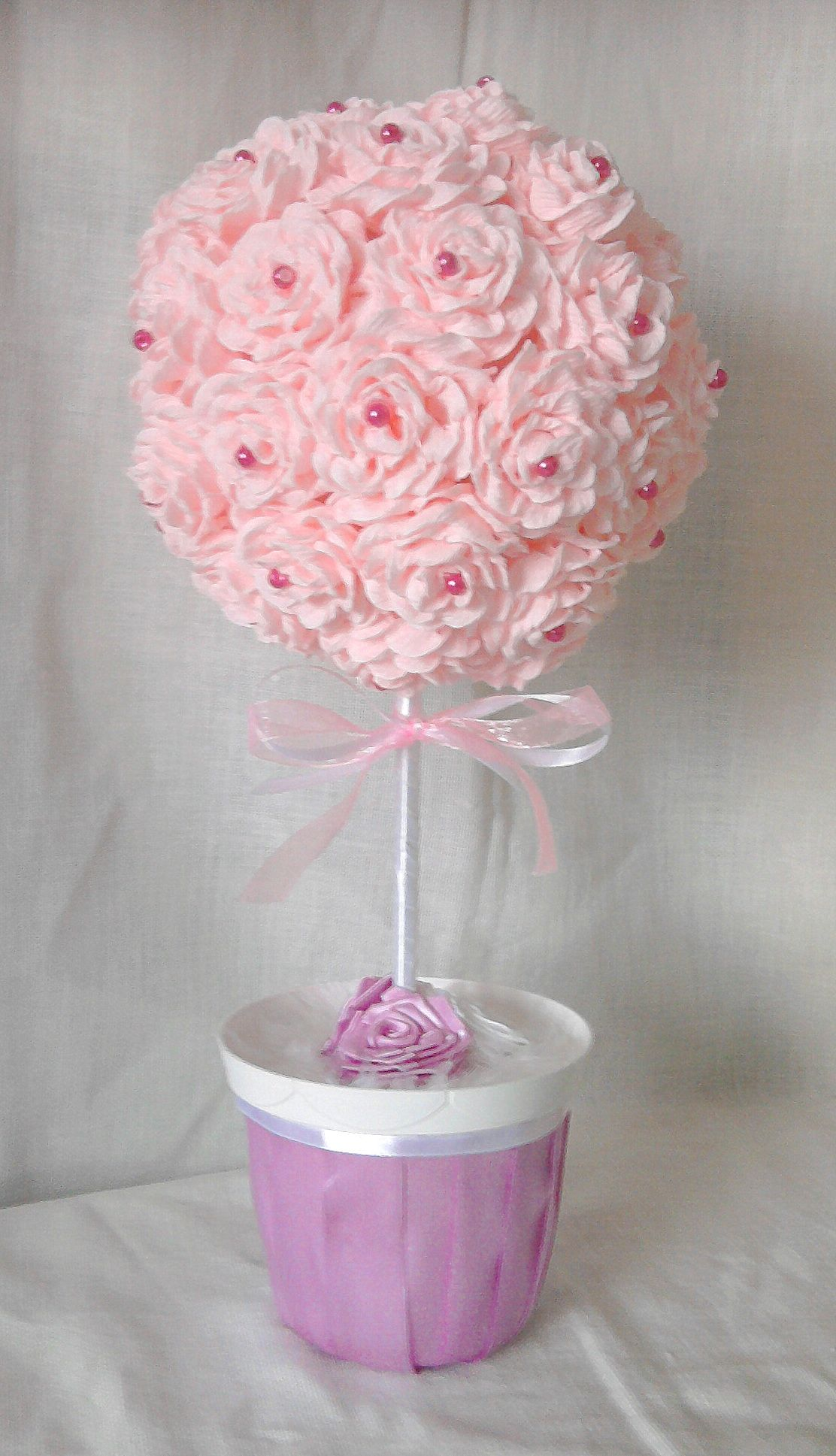 Rose topiary tree with crepe paper hand made by ann gie