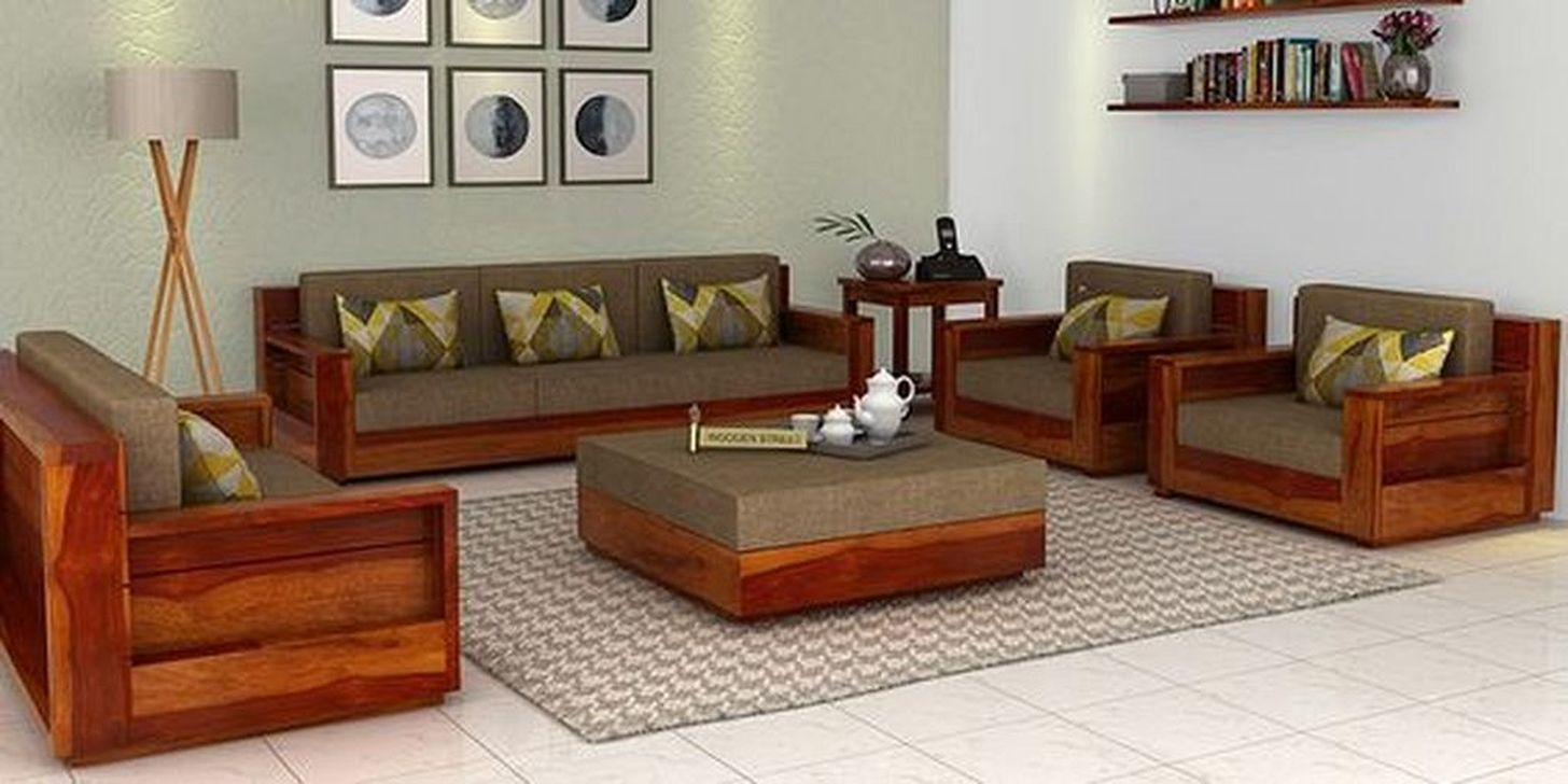 46 Elegant Sofa Set Designs Ideas For Small Living Room Decoomo Com Wooden Sofa Designs Wooden Sofa Set Sofa Set Designs