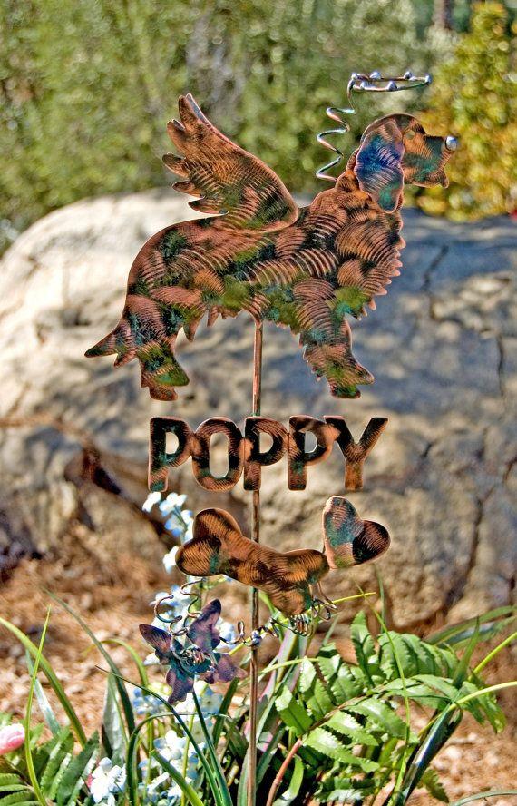 SOLD Golden Retriever Garden Stake / Metal Garden Art / Pet Memorial / Copper Art / Yard Art / Angel Dog / Pet Sculpture / Name Plate