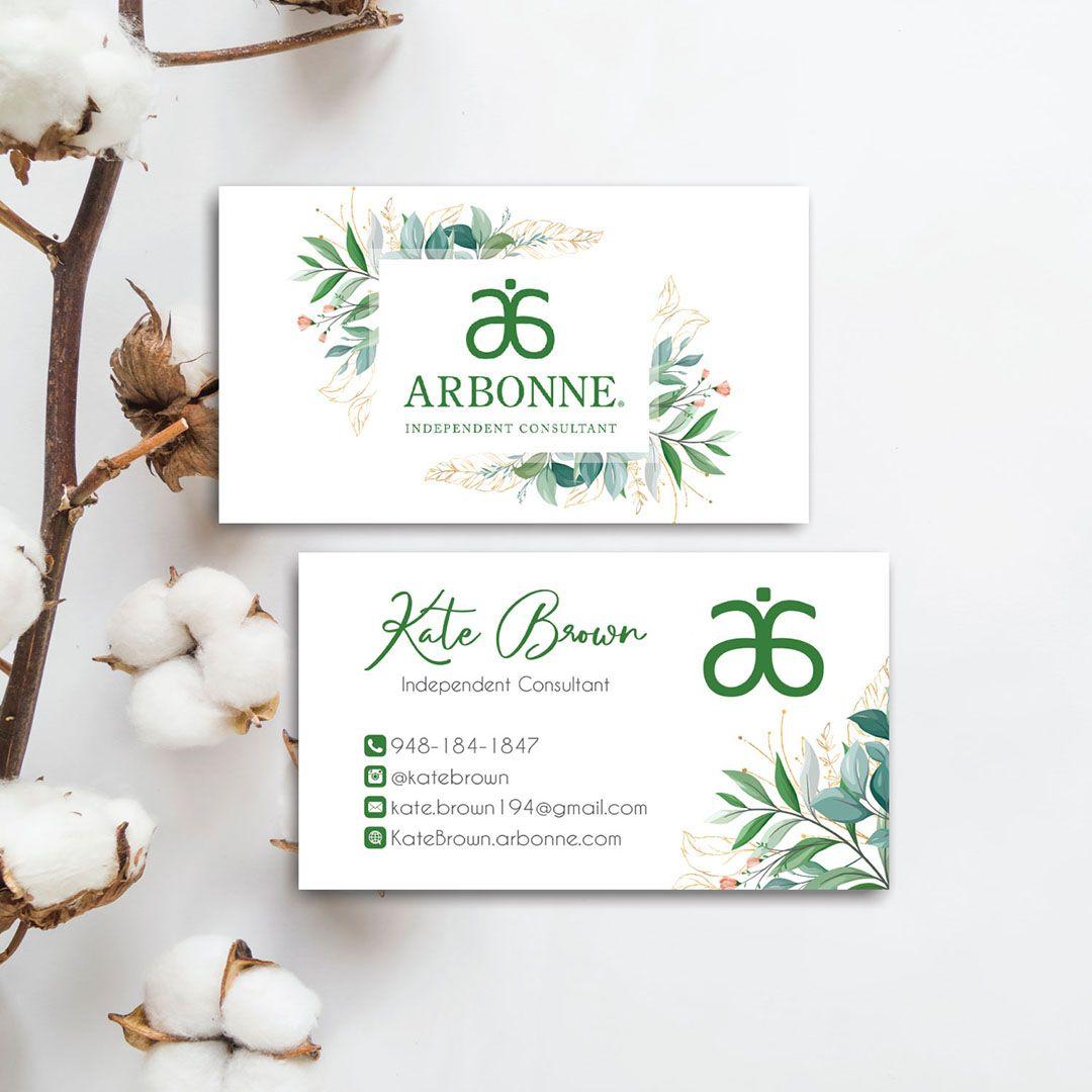 Greenery Arbonne Business Card Arbonne Business Card Ab40 Arbonne Business Cards Arbonne Business Arbonne Consultant Business