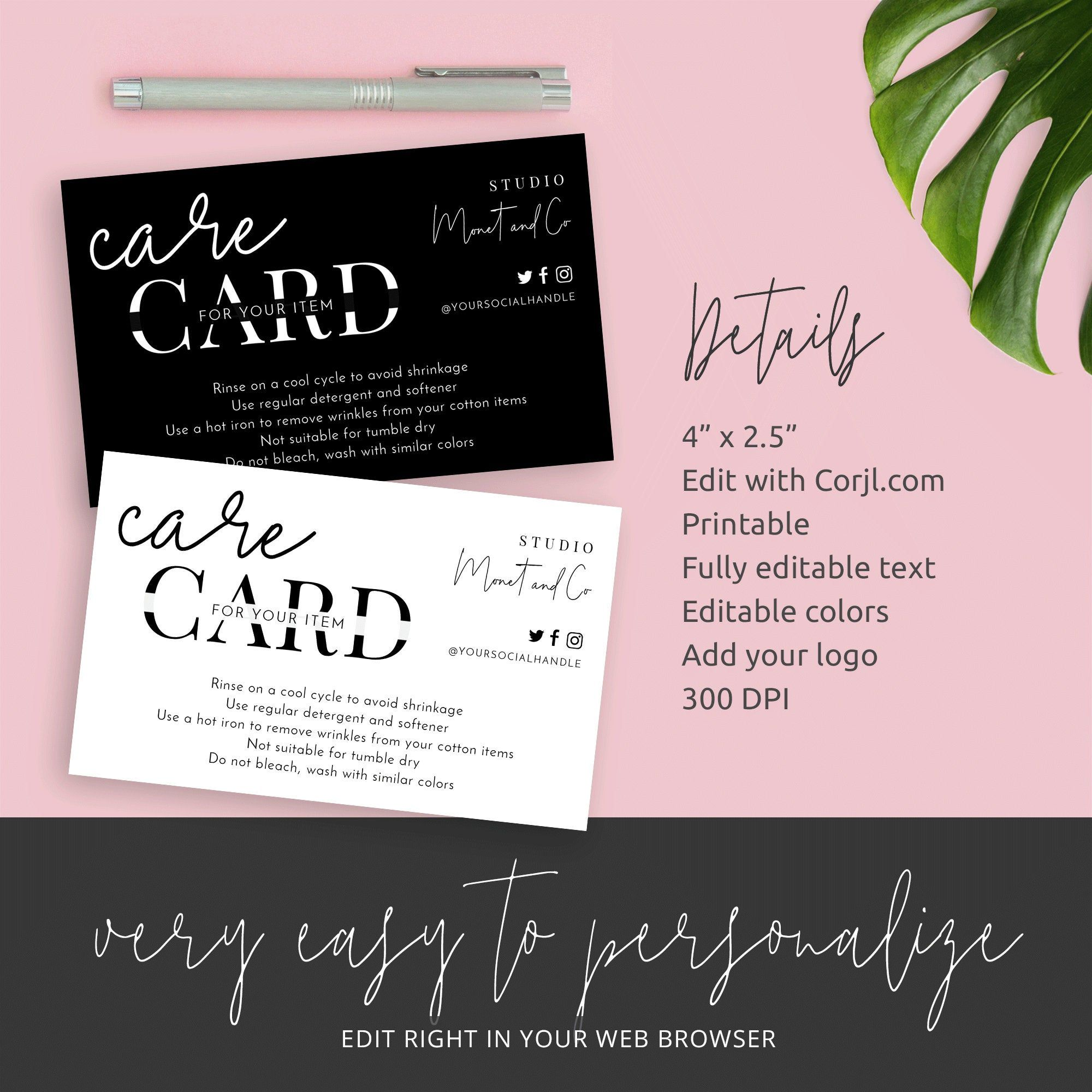 Minimalist Care Card Template Customisable Care Cards Care Etsy In 2020 Card Template Photography Invoice Template Card Design