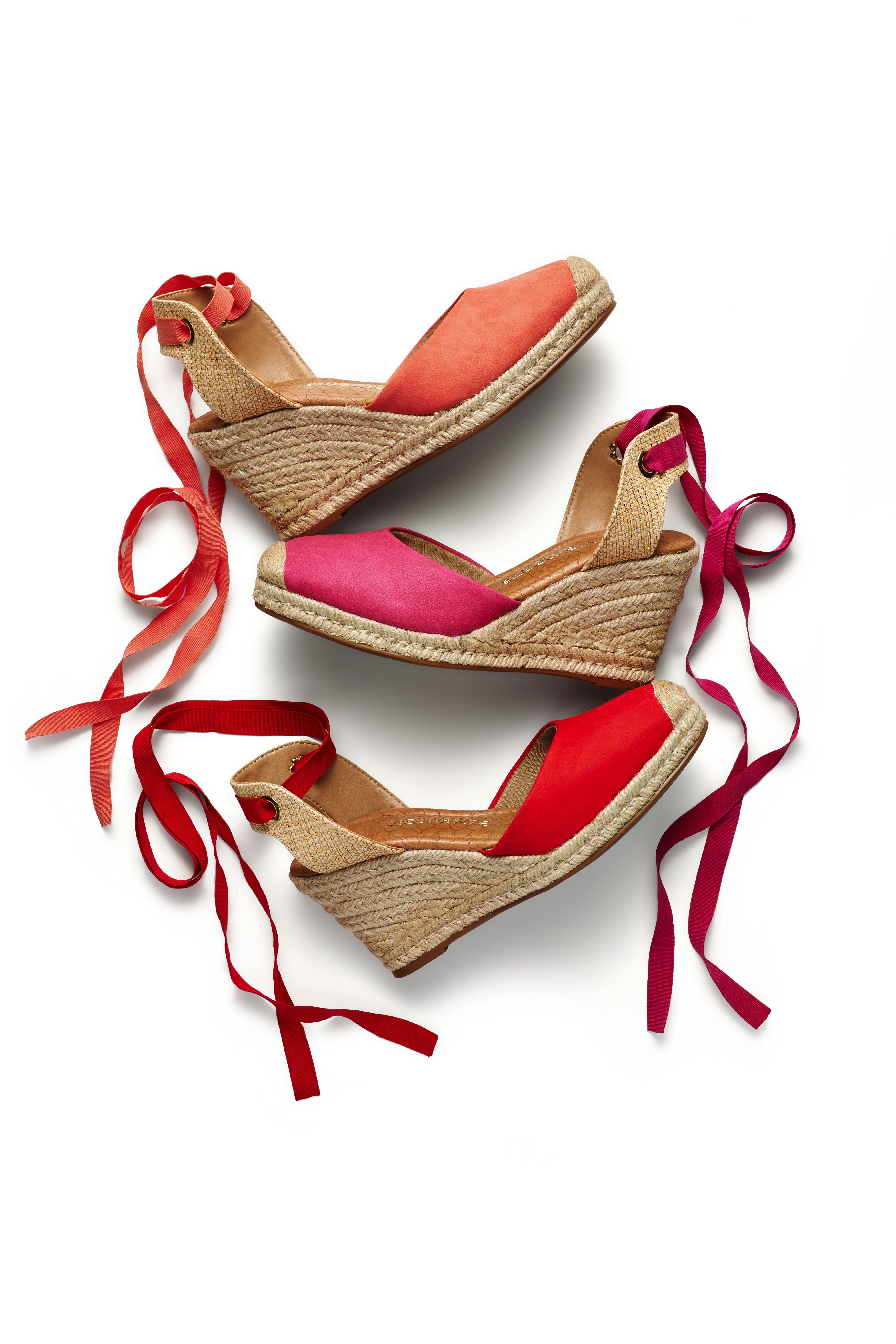 83e1048f14 Espadrilles – salto alto – anabela – heels – sapato aberto – sapato com  fita – cores – vermelho - coral - pink - Verão 2016 – Ref. 15-14007
