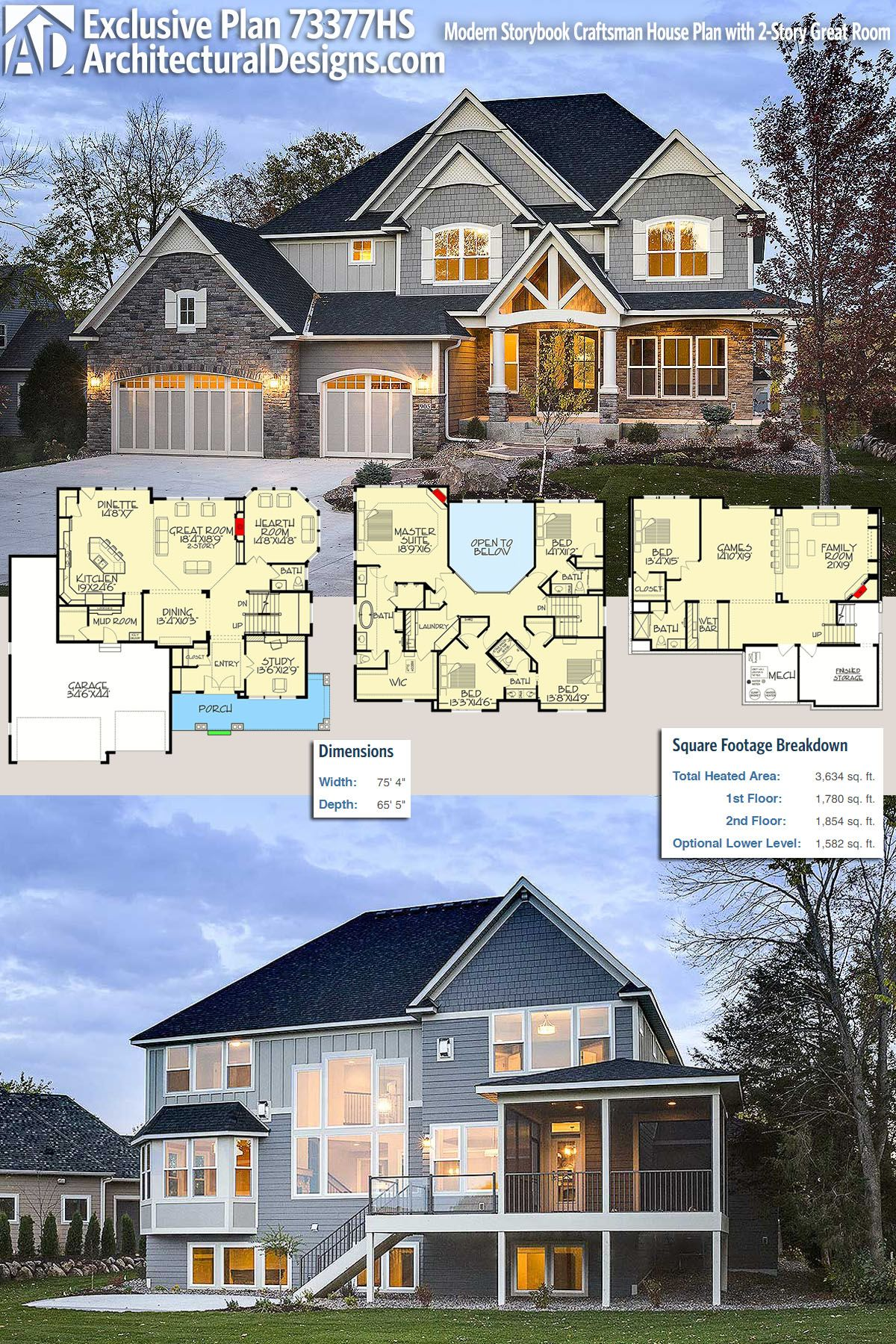 Architectural Designs Exclusive Craftsman House Plan 73377HS