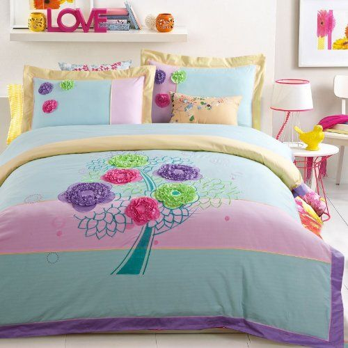 Flower Tree Cyan Bedding Duvet Cover Set Girls Bedding Teen Bedding Luxury Bedding Modern Bedding Gift Idea, Full Size *** Click on the image for additional details.