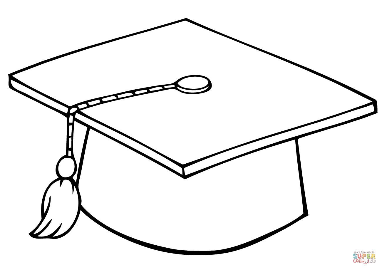Graduate Cap Coloring Page Png 1300 919 Graduation Clip Art Graduation Hat Graduation Cap