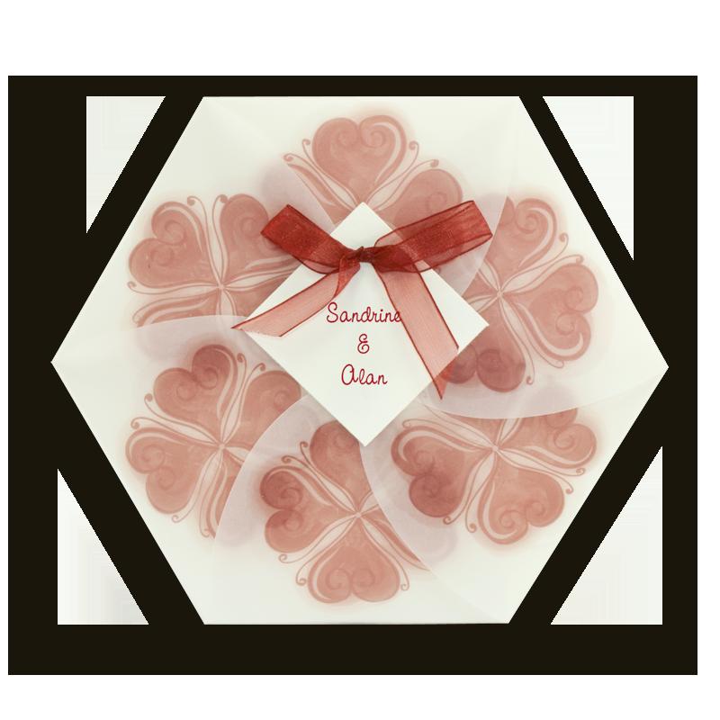Faire part mariage pas cher Régalb : Hexagone avec trèfles coeurs rouge