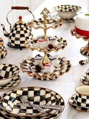 MacKenzie Childs tableware.