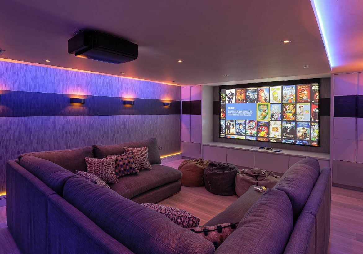 72 Really Cool Modern Basement Ideas Sala Home Cinema Cinema A
