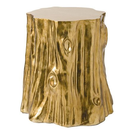 Tree Stump Shaped Side Table With A Gold Foil Finish. Product: Side Table