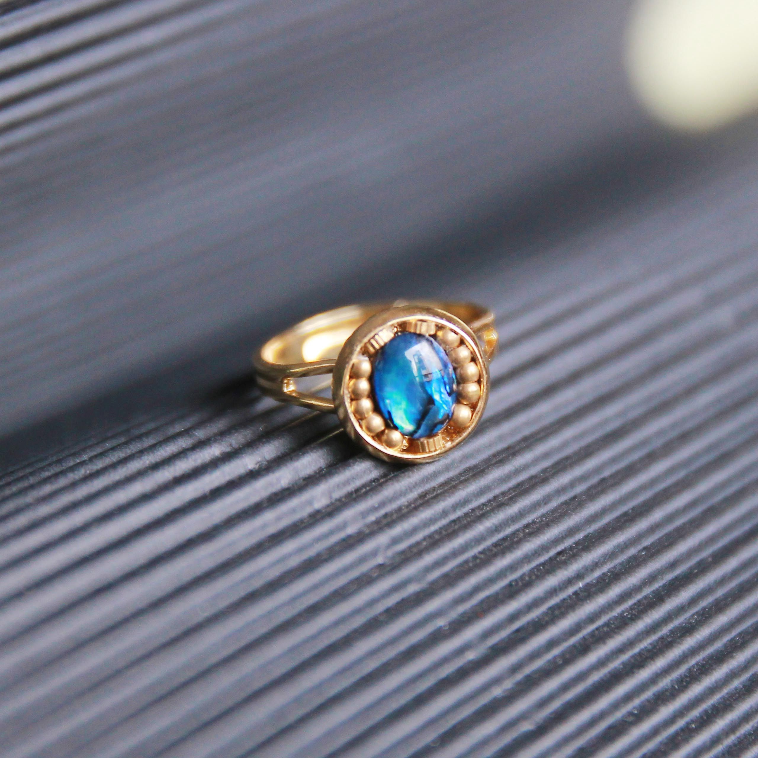 abalone white synthetic star in rings engagement diamonds and ring pin sapphire gold with vintage