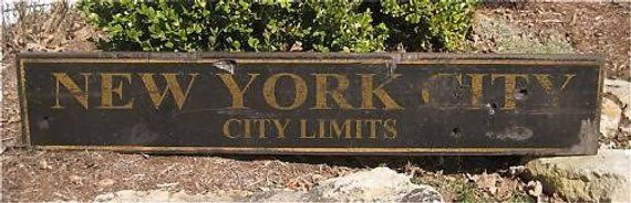 New York City Hand Painted Wooden Sign City Limits