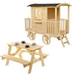 Roulotte en bois Western avec table pique-nique Roulotte en bois Western avec table pique-nique - OOGarden