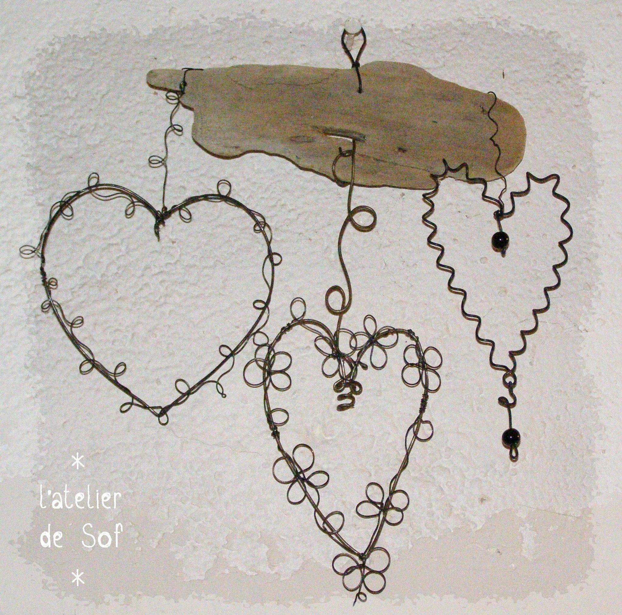 3 coeurs fil de fer sur bois flott no l pinterest for Acheter du bois flotte