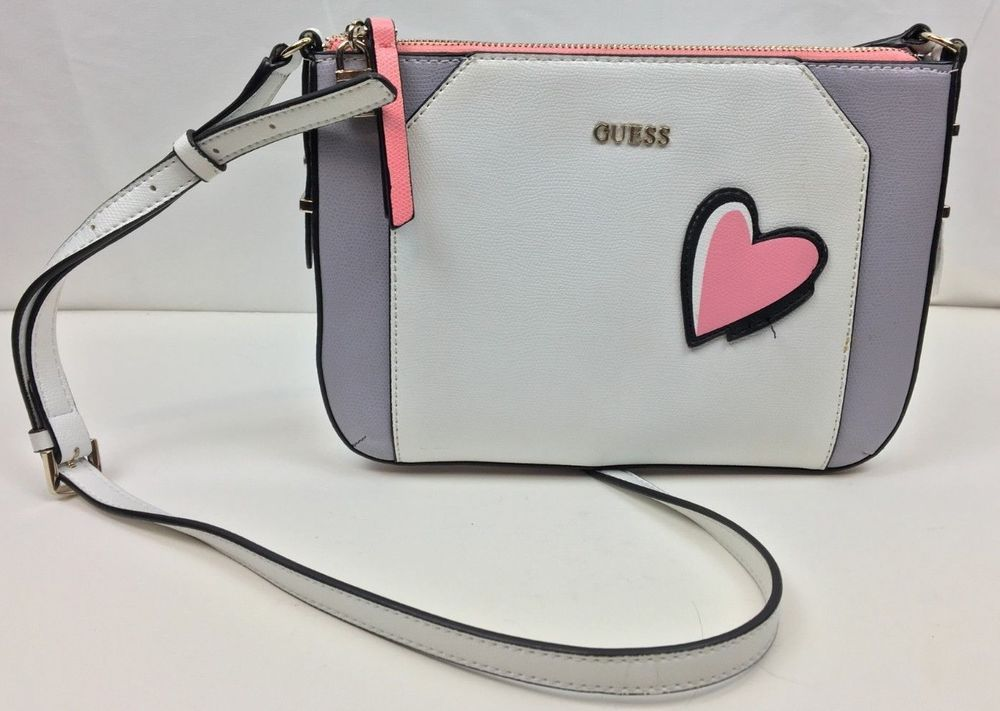 5b1093d85 GUESS Devyn Top Zip Crossbody White Grey Multi Pink / Heart #fashion  #clothing #shoes #accessories #womensbagshandbags ...