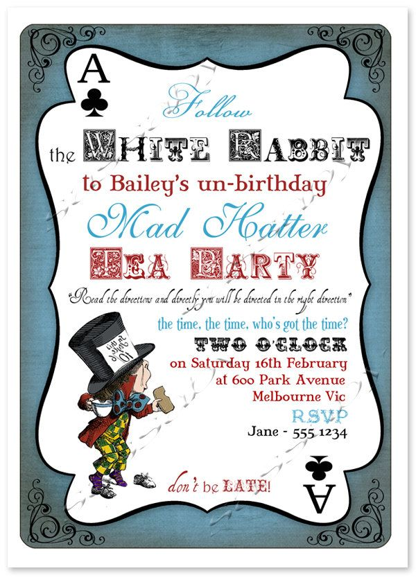 Mad Hatter Tea Party- Alice in Wonderland - Boys Party Invitation ...