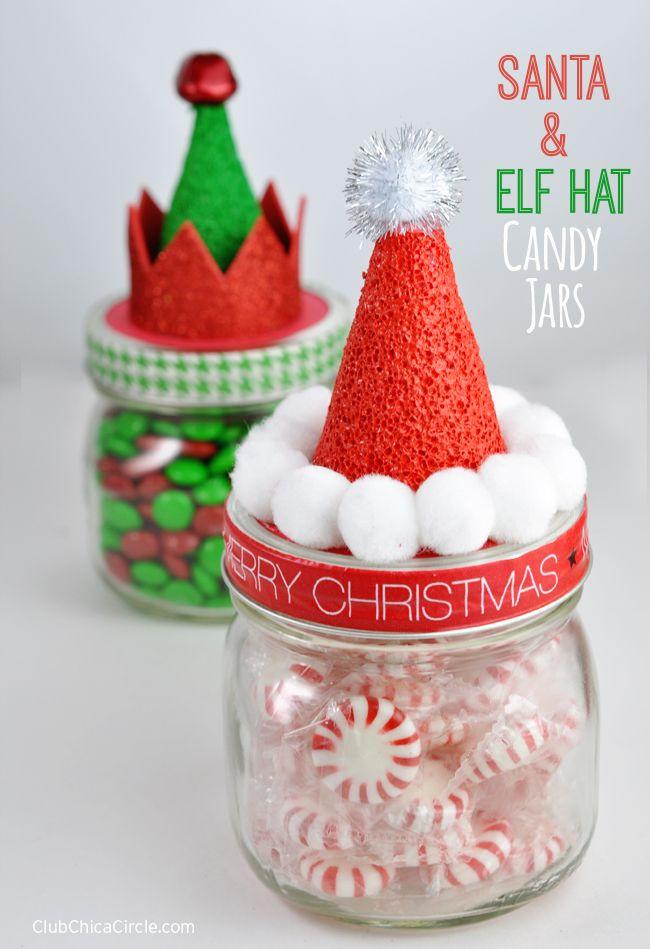 Christmas Diy Santa Hat And Elf Hat Candy Jars Diy Christmas Gifts Baby Food Jar Crafts Christmas Jars