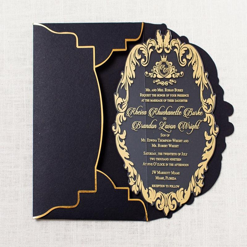 Gold and Black Royal Invitation boxedweddinginvitations