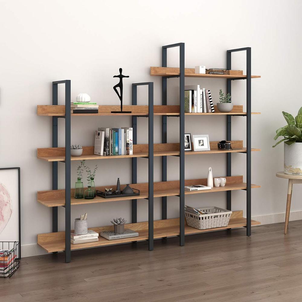 Amazon Com Wlive 4 Tier Bookcase Vintage Industrial Bookshelf Wood And Metal Book Shelf Furniture Or Wood And Metal Shelves Shelf Furniture Metal Bookshelf