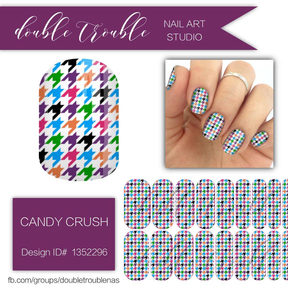 Candy Crush, Colorful Houndstooth Nail Art, Jamberry Nail Wraps, NAS ...
