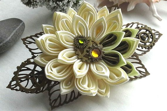 This hair accessory is created on the basis of a metal barrette and decorated with a ivory flower. It is created of satin ribbons using kanzashi technique.  100% handmade for sure!  d flower - 2.76 inches About 4.53 inches length of the entire flower arrangement Ready to ship! 100% handmade for sure